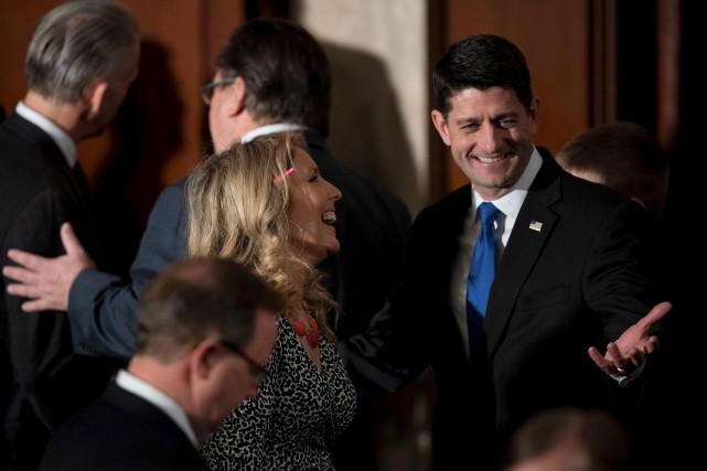 Paul Ryan à son arrivée au Congrès, mardi... (AFP, Jim Watson)