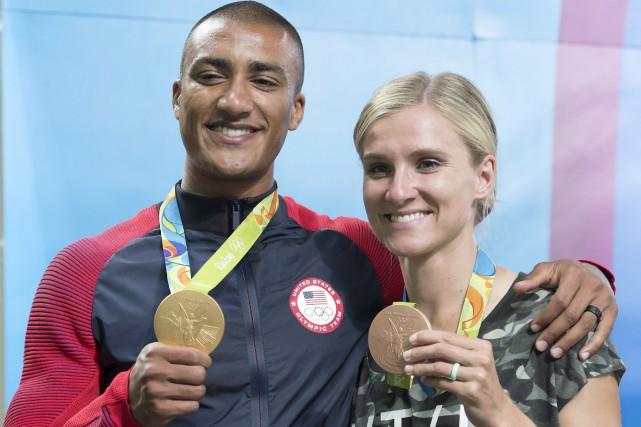Ashton Eaton et Brianne Theisen-Eaton à Rio.... (Photo Frank Gunn, archives La Presse Canadienne)