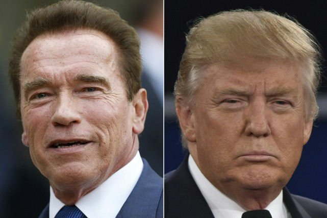 Arnold Schwarzenegger et Donald Trump... (Photos Thomas Samson et Paul J. Richards, AFP)