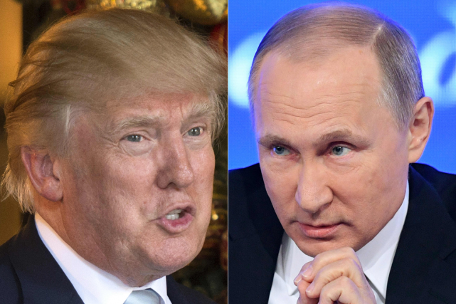Donald Trump et Vladimir Poutine... (Photos Don Emmert et Natalia Kolesnikova, archives AFP)