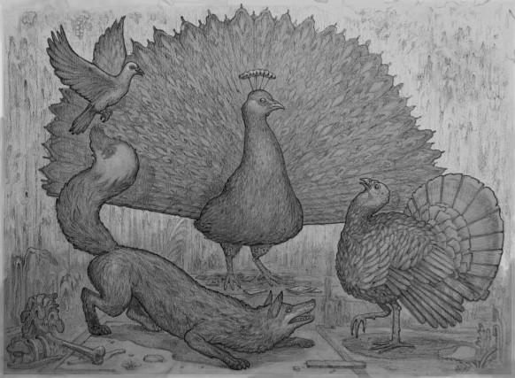 Le Renard, la Colombe et le Dindon souhaitaient... (Illustration, Olivier Bonnard)