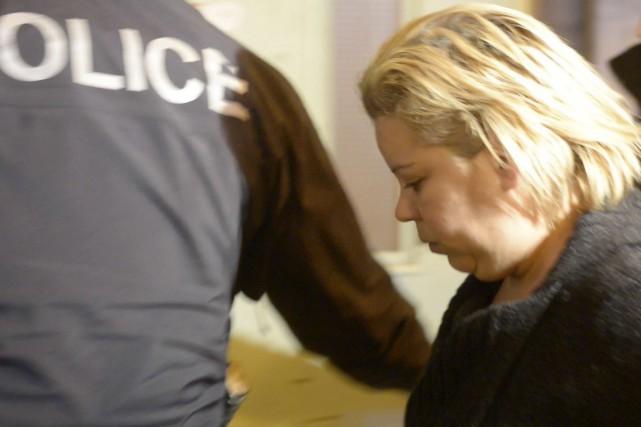 Ghyslaine Beaudoin lors de son arrestation en février... (Archives, La Tribune)