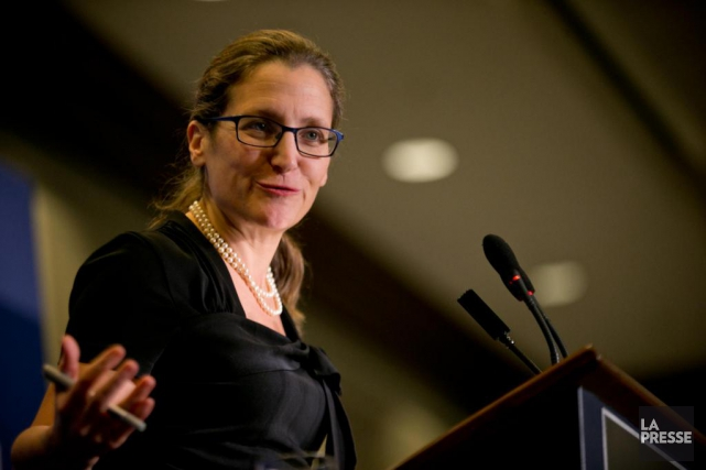 Chrystia Freeland amorce une visite de deux jours à Washington.... (PHOTO DAVID BOILY, ARCHIVES LA PRESSE)