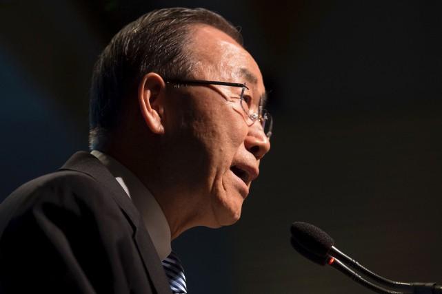 L'ancien secrétaire général des Nations Unies Ban Ki-moon... (AFP, Molly Riley)