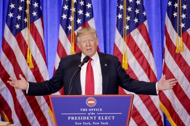 Le président désigné Donald Trump tient sa première... (PHOTO AP)