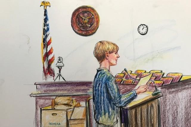 Dylann Roof dans un croquis de cour publié... (PHOTO REUTERS)