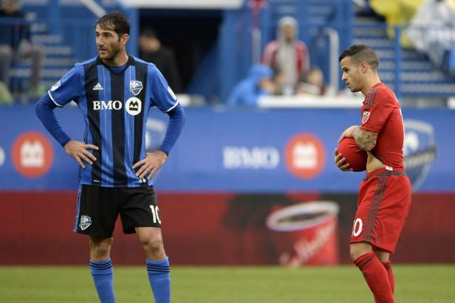 Ignacio Piatti, de l'Impact, et Sebastian Giovinco, du... (Photo Eric Bolte, archives USA Today Sports)