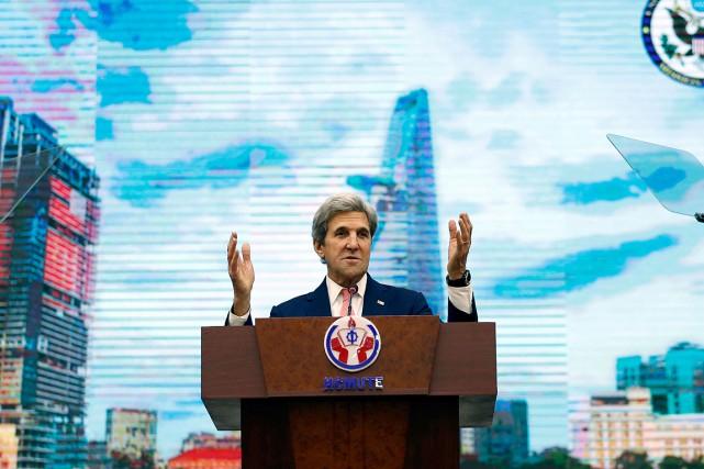 Le secrétaire d'État américain John Kerry a prononcé... (Photo Alex Brandon, AFP)