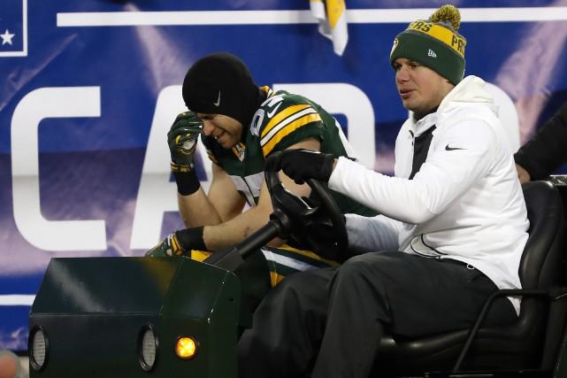 Jordy Nelson (87)s'est blessé aux côtes lors de... (Photo Matt Ludtke, AP)