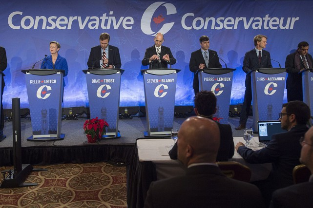 Une partie des candidats à la direction du... (Photo Andrew Vaughan, archives La Presse Canadienne)