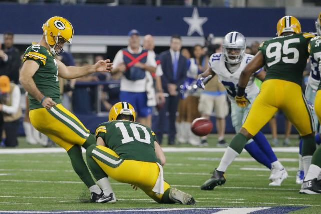 Le botteur des Packers, Mason Crosby, a donné... (AP, Tony Gutierrez)