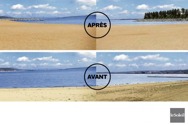 L'horizon de la future plage sera bloqué côté... (Infographie Le Soleil)