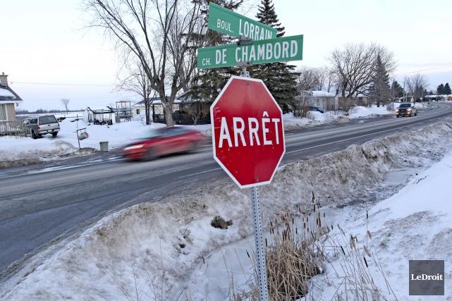 L'intersection de la rue Chambord et du boulevard... (Patrick Woodbury, Le Droit)