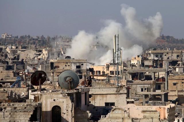 Au fur et à mesure que les djihadistes resserrent l'étau sur le réduit... (Photo Mohamad Abazeed, Agence France-PResse)