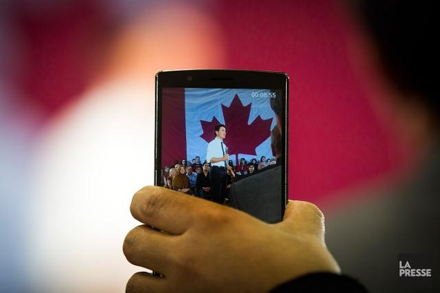 Le premier ministre, Justin Trudeau, lors de son... (PHOTO OLIVIER JEAN, LA PRESSE)