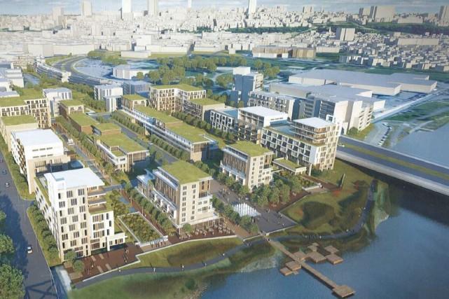 Vue aérienne du projet d'écoquartier de la Pointe-aux-Lièvres... (Image fournie par la Ville de Québec)