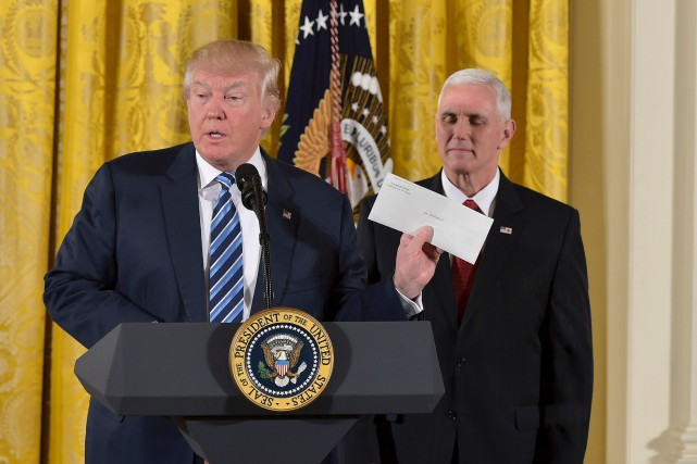 Donald Trump lors d'une allocution à la Maison-Blanche,... (AFP, Mandel Ngan)