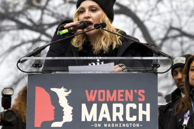 Madonna à la marche des femmes samedi à... (PHOTO AP)