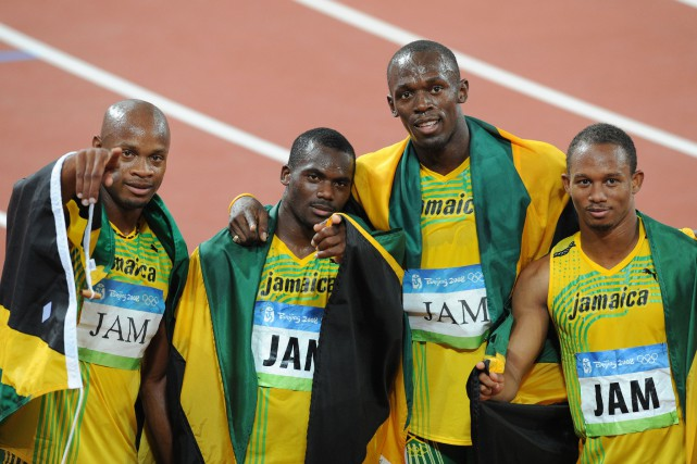 Les Jamaïcains Asafa Powell, Nesta Carter, Usain Bolt... (PHOTO WILLIAM WEST, archives Agence France-Presse)