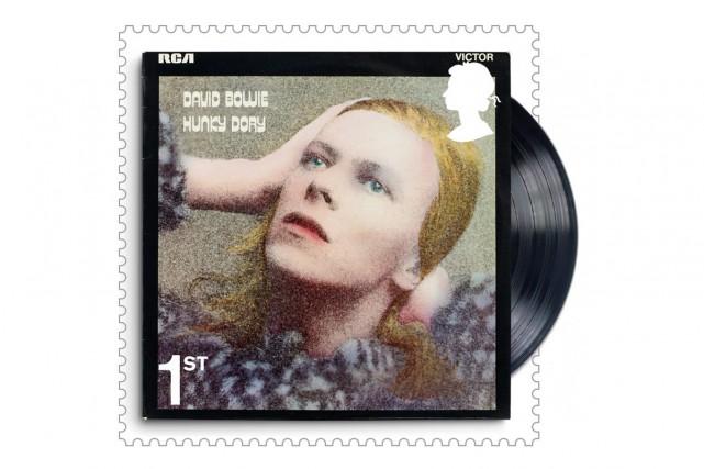 Le timbre montrant la pochette deHunky Dory... (Photo fournie par la poste royale britannique)