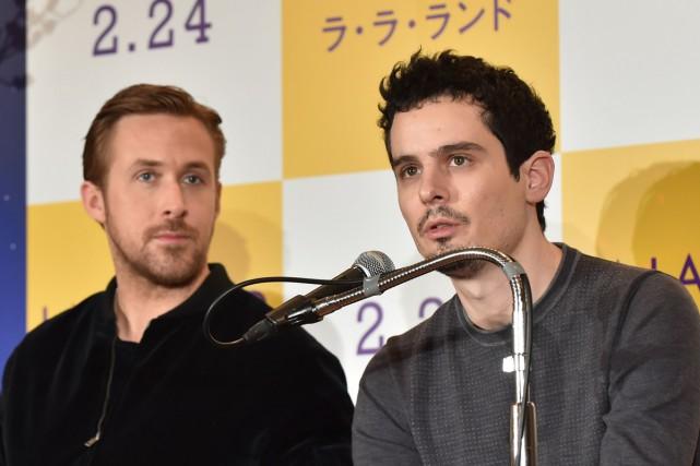 Ryan Gosling et Damien Chazelle (à droite) étaient... (PHOTO AFP)