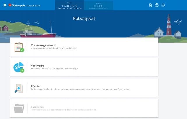 L'interface de l'outil en ligne... (Image tirée du site web d'ImpôtRapide)