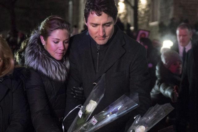 Le premier ministre canadien, Justin Trudeau, et sa... (La Presse canadienne, Paul Chiasson)