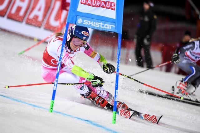 L'Américaine Mikaela Shiffrin a signé la 28e victoire... (Photo Reuters)