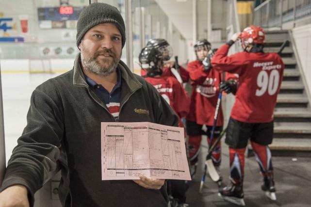 L'entraîneur David Moreau et l'équipe Hockey Experts bantam... (Spectre Média, Frédéric Côté)