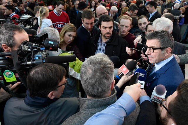 Le point de presse de Marc Bergevin a... (Photo Bernard Brault, La Presse)