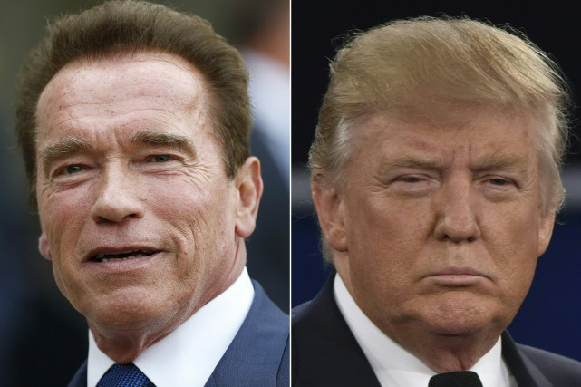 Arnold Schwarzenegger et Donald Trump... (Photos Thomas Samson et Paul J. Richards, archives Agence France-Presse)