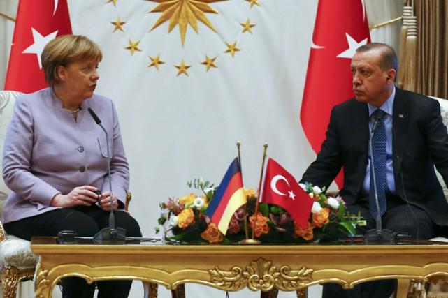 Angela Merkel a rencontréRecep Tayyip Erdogan à Ankara... (PHOTO REUTERS)