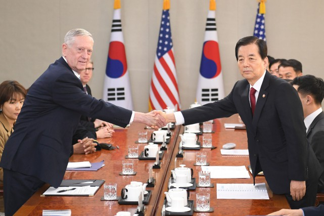 Le secrétaire américain à la Défense James Mattis... (PHOTO Kim Min-Hee, AFP)