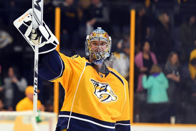 Pekka Rinne a signé le42e blanchissage de sa... (Photo Christopher Hanewinckel, USA TODAY Sports)