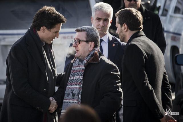 Le premier ministre Justin Trudeau et le maire... (Archives La Presse, Edouard Plante-Fréchette)