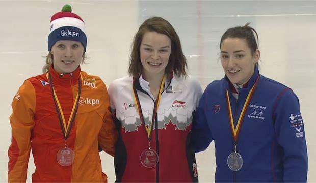Kim Boutin (au centre) a devancé la Néerlandaise... (The Associated Press)