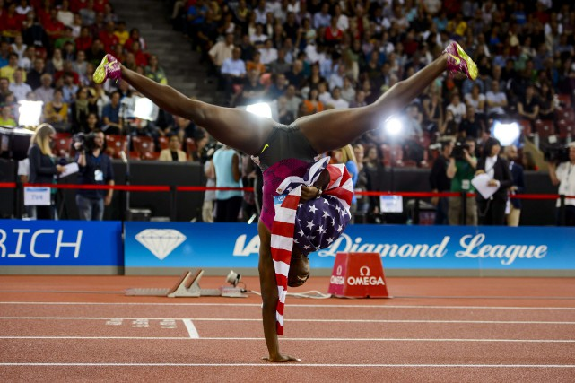Dawn Harper-Nelson lors d'une victoire aux 100 m... (Photo FABRICE COFFRINI, Agence France-Presse)
