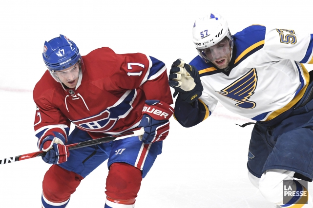 Torrey Mitchell et David Perron.... (photo Bernard Brault, La Presse)
