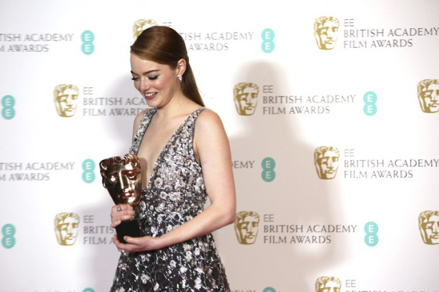 Emma Stone a remporté le BAFTA de la... (PHOTO AP)