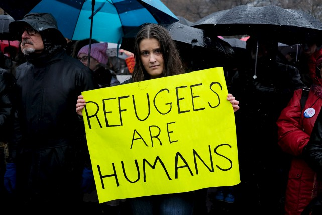 Une manifestation contre le décret migratoire à New... (AFP, Jewel Samad)