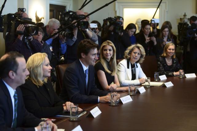 Monique Leroux (à droite) était présente à la... (La Presse Canadienne)