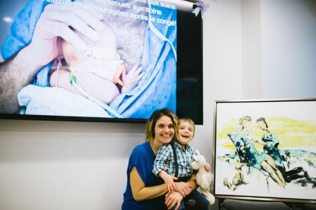 Isabelle Parent (Zabel) avec son fils Victor, devant... (Véronique Moisan)
