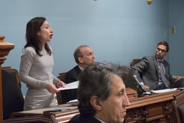 En pleine période de questions, Martine Ouellet, candidate... (La Presse canadienne, Jacques Boissinot)