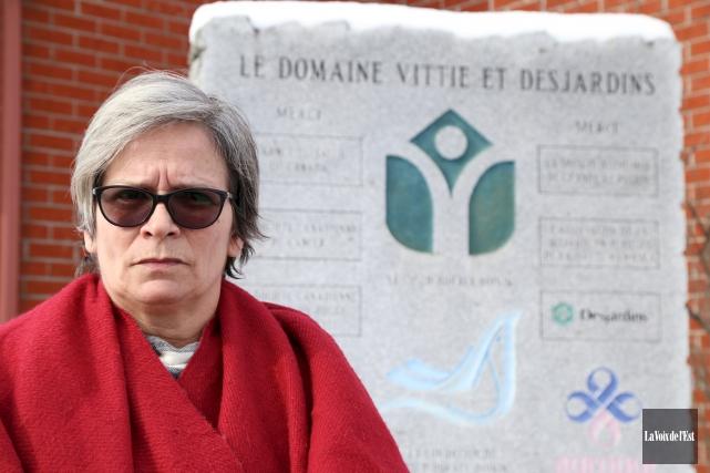 Line Cadorette, résidente au Domaine Vittie et Desjardins,... (Janick Marois, La Voix de l'Est)
