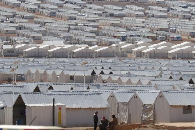 Lecamp d'Azraq, en Jordanie.... (Photo KHALIL MAZRAAWI, archives Agence France-Presse)