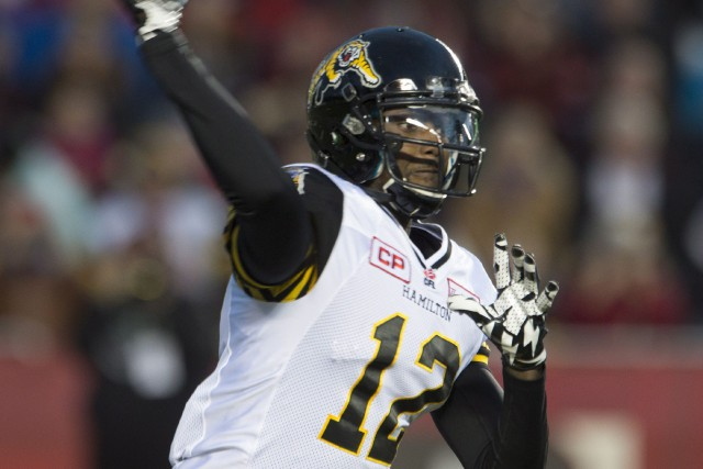 Jacory Harris avec les Tiger-Cats de Hamilton en 2015.... (Photo Adrian Wyld, archives PC)
