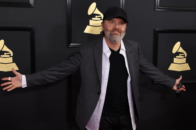 Lars Ulrich sur le tapis rouge des Grammy.... (PHOTO ARCHIVES AFP)
