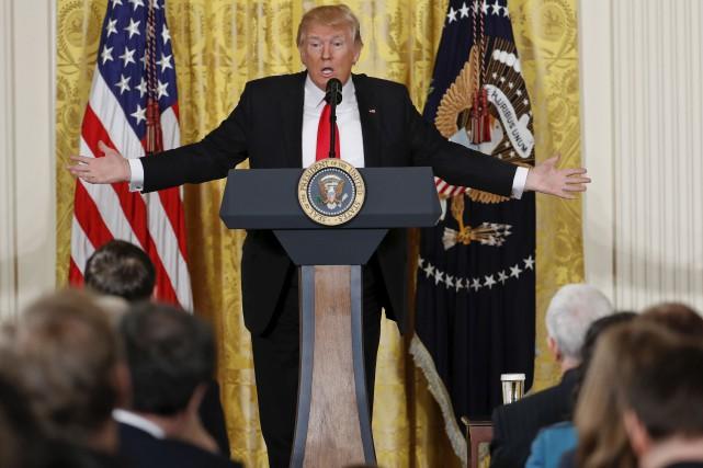 Jeudi, Donald Trump a profité d'une conférence à... (AP, Pablo Martinez Monsivais)