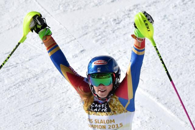 L'Américaine Mikaela Shiffrin sacrée championne du monde pour... (Photo Dimitar DILKOFF, AFP)