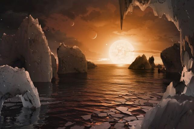 Une équipe internationale a découvert un véritable chapelet de sept planètes de... (image fournie par la NASA)